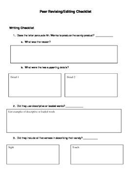 Wonka's New Product - Peer Revising & Editing Checklist