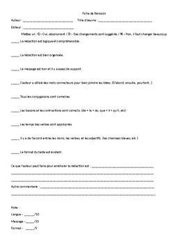 Peer Revision Worksheet IB French Paper 2
