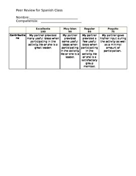 Peer Rubric For Spanish Class