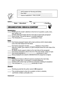 Editing Checklist Self-Peer-Teacher Time-Saver for Expository Writing
