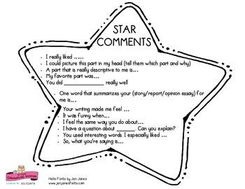 Peer Sharing Sentence Starters