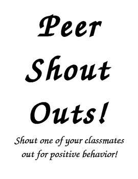 Peer Shout Outs