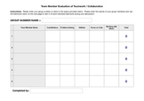 Peer Teamwork Evaluation PDF Fillable Form