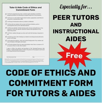 Peer Tutor & Instructional Aide Commitment Form and Code of Ethics