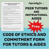 **FREE** Peer Tutor & Aide Training: Code of Ethics and Commitment Form