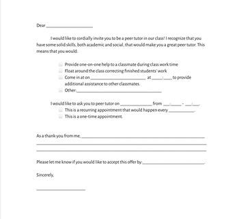 Peer Tutor Invitation