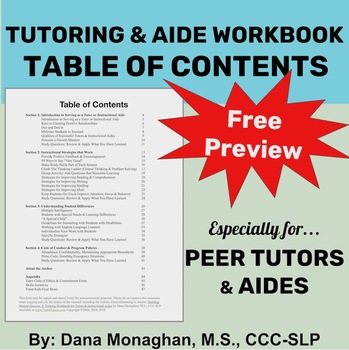 **FREE** Peer Tutor and Aide Training Workbook Preview: Table of Contents