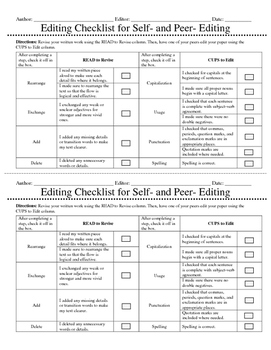 Peer and Self Editing Checklist