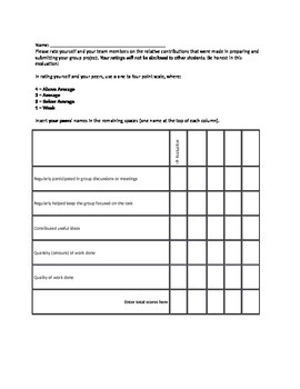 Peer and Self Evaluation for Group Work