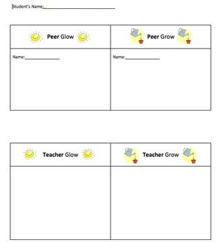 Peer and Teacher Glow and Grow Feedback Sheet