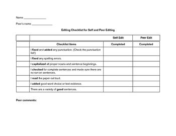 Peer and self editing checklist