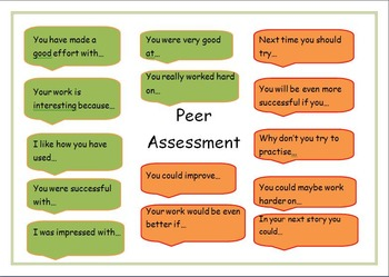 Peer assessment traffic light help card