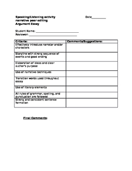 Peer editing form for narrative writing