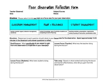 Peer observation form (for teachers)