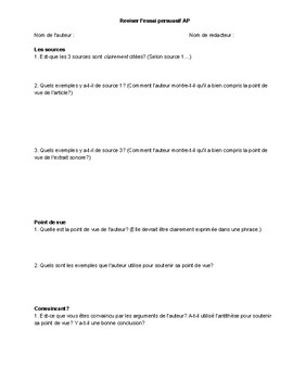 Peer or self-edit worksheet for AP French persuasive essay