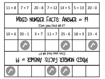 Peg Cards- Addition and Subtraction to 20