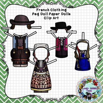 Peg Doll Paper Doll Clip Art: French