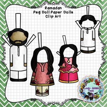 Peg Doll Paper Doll Clip Art: Ramadan