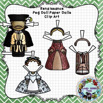 Peg Doll Paper Doll Clip Art: Renaissance