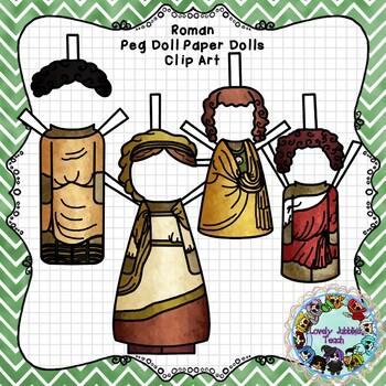 Peg Doll Paper Doll Clip Art: Roman