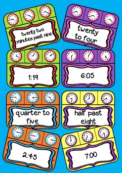 Peg It! - Telling Time from O'clock to 1 minute intervals