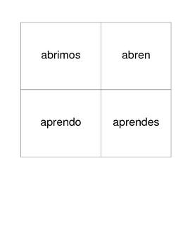 Pegalo basic Spanish -er, -ir verb cards
