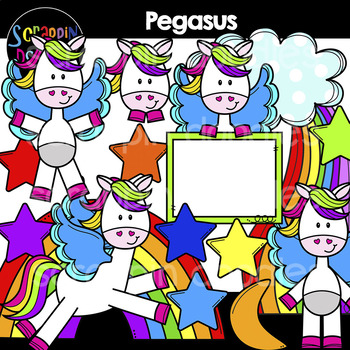 Pegasus Clipart {Scrappin Doodles Clipart}