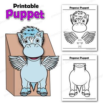 Pegasus Craft Activity   Paper Bag Puppet Template
