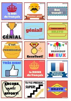 Stickers pour motiver les élèves/ Pegatinas para profes de FLE