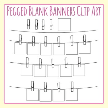Pegged Blank Word Banner / Bunting for Word Word Etc Clip Art Commercial Use