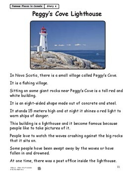 Peggy's Cove Lighthouse Reading Lesson Gr. 1-2