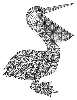 Pelican Zentangle Coloring Page
