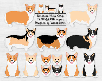 Pembroke Welsh Corgi Clipart - Red and White Fawn Sable Black and Tan Tricolor