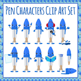 Pen Characters Clip Art Set for Commercial Use