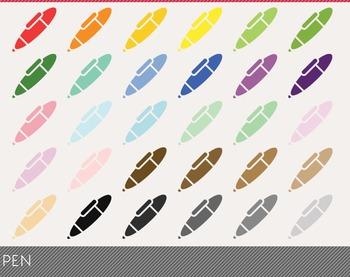 Pen Digital Clipart, Pen Graphics, Pen PNG, Rainbow Pen Digital Files