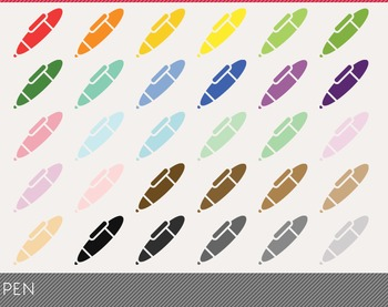 Pen Digital Clipart, Pen Graphics, Pen PNG, Rainbow Pen Di
