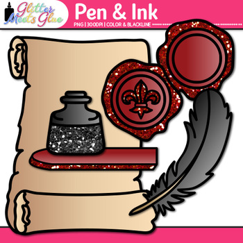 Pen & Ink: Feather Quill Pens & Wax Seals Graphics {Glitter Meets Glue}