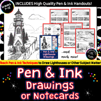 Pen & Ink Lighthouse Drawing- 13 Printables, Practice Worksheet & Vocabulary