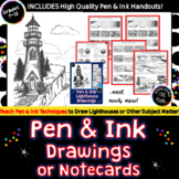 Pen & Ink Lighthouse Drawing- 13 Printables, Practice Worksheet & Art Vocabulary