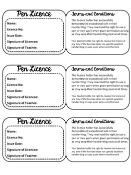 lesson plan template qld - pen licence by mrs six teachers pay teachers