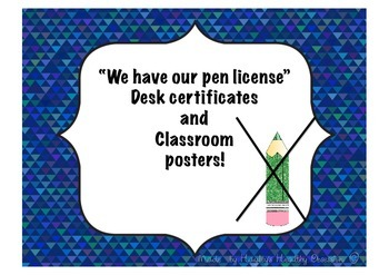 Pen License desk certificates and posters.