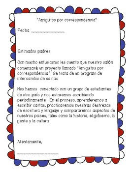 Pen pal announcement letter in spanish by a touch of wonder tpt pen pal announcement letter in spanish spiritdancerdesigns Images