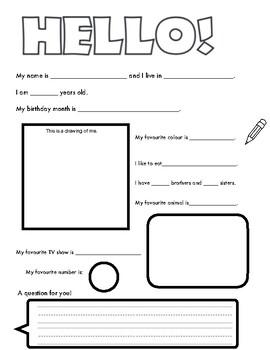 Pen Pal Introduction Worksheet