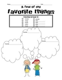 Pen Pal Letter - Favorite Things Brainstorming sheet