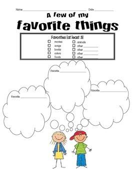 Pen Pal Letter - Favorite Things Brainstorming sheet