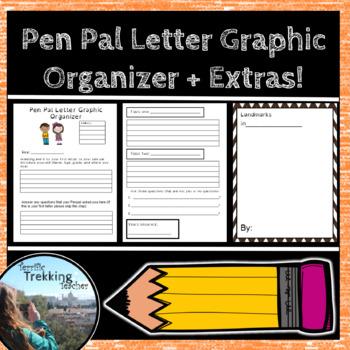 Pen Pal Letter Graphic Organizer + Extras!