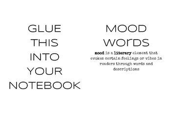 Mood Words - Resource  (Foldable)