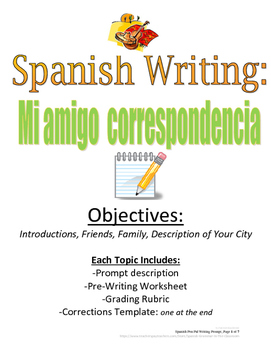 Pen Pal Spanish Writing Prompt: Mi amigo correspondencia
