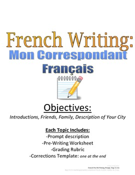 Pen Pal Writing Prompt for French Students with Rubric and Pre-Writing