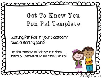 Pen Pals Template by Spring Into Second | Teachers Pay Teachers